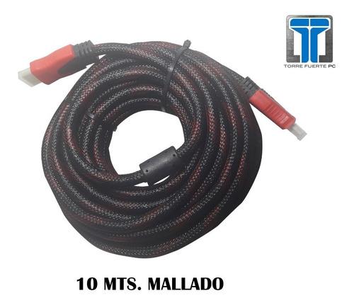 cable hdmi a hdmi 10 mt 1080p full hd oro filtro mallado cba