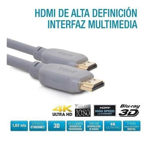 cable hdmi a hdmi 3,05 mts 3d 4k ethernet tgw cyber monday