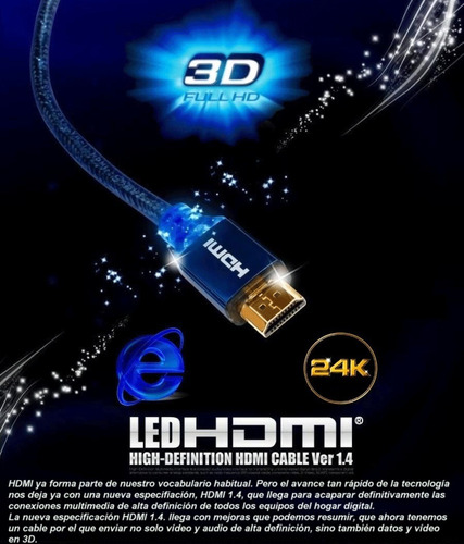 cable hdmi led 3d internet oro 24k  ver 1.4 tv  lcd 3,0mts.