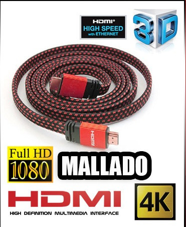 cable hdmi mallado full hd 3d tv dvd notebook ps3 ps4