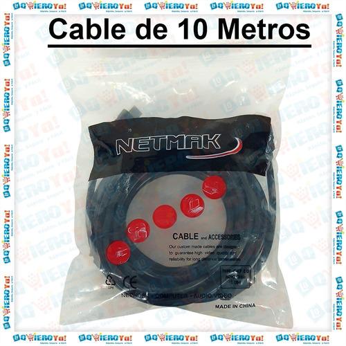 cable hdmi netmak macho / macho v 1.4 10 metros con filtros hd 1050p 4k a 24 hz