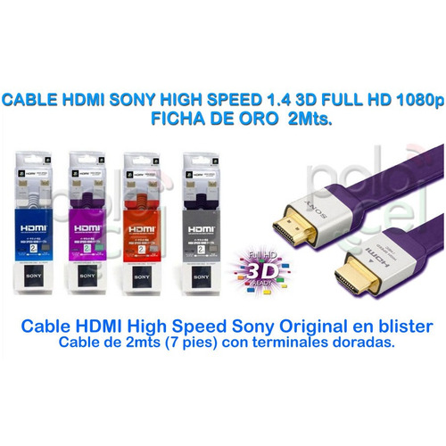 cable hdmi sony plano 2 mts v1.4 high speed 3d ready oro hd