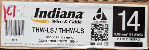 cable indiana thw calibre 14 (caja c/100 mts).