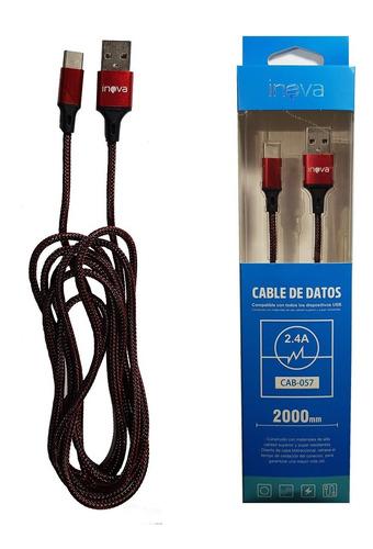 cable inova datos usb tipo c reforzado mallado 2 mts cab057