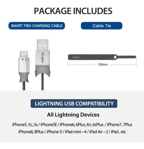cable iphone ligntning ringke smart fish carga rapida irromp
