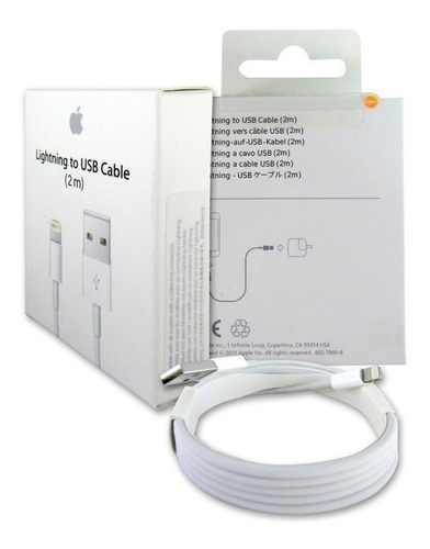 cable lightning 2m iphone  6, 7, 8, x, ipad envío