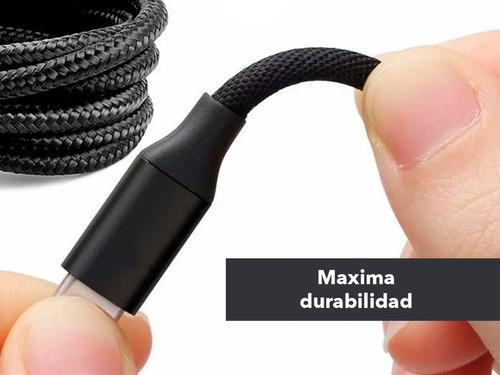 cable lightning a usb reforzado negro 1 metro carga rápida