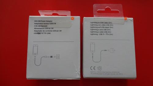 cable lightning usb (1 m) + power adapter 5w - apple genuino