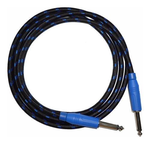 cable linea guitarra plug 1/4 amphenol 4 mts textil  azul