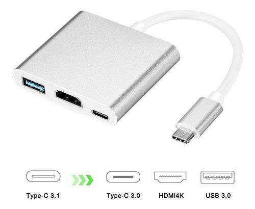 cable mac tipo c 3 en 1 hdmi + usb + carga