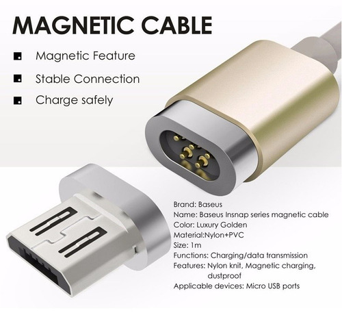 cable magnetico micro usb 1m