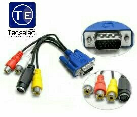 cable marca one adaptador conversor de vga a rca y s-video