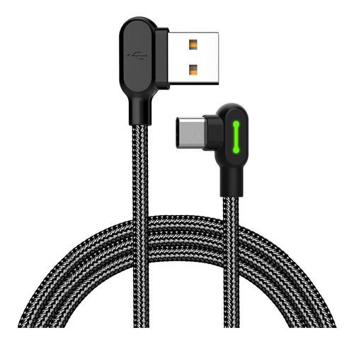 cable mcdodo original usb a type c - 1,20 metro gamer 90° carga rápida. color negro - codito. samsung, huawei, xiaomi