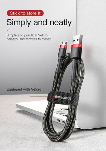 cable micro usb carga rapida 2.4a reversible baseus samsung