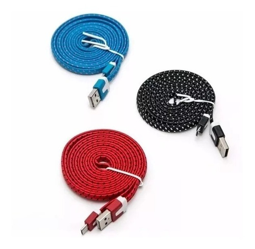 cable micro usb datos y carga 3 metros mallado excelente