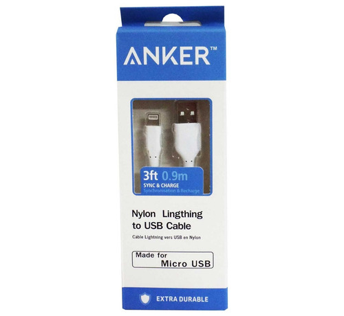 cable micro usb iphone 6 anker 0.9 metros nylon