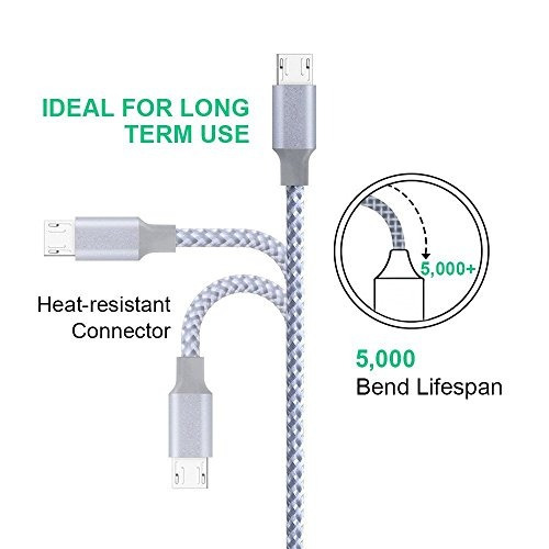 cable micro usb, vanzon 4pack 3ft / 6ft / 6ft / 10ft cargado