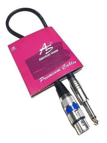 cable micrófono dj 1/4 mono a xlr canon hembra 0,5 metros