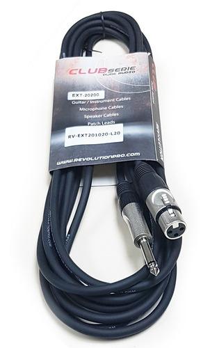 cable micrófono dj audio 1/4 mono a xlr canon hembra 6mt