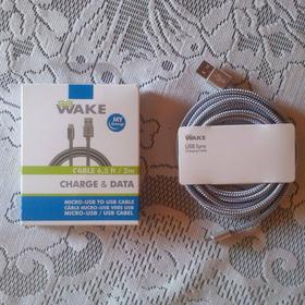 Cable Microusb Metálico Wake De 2mts De Carga Y Datos