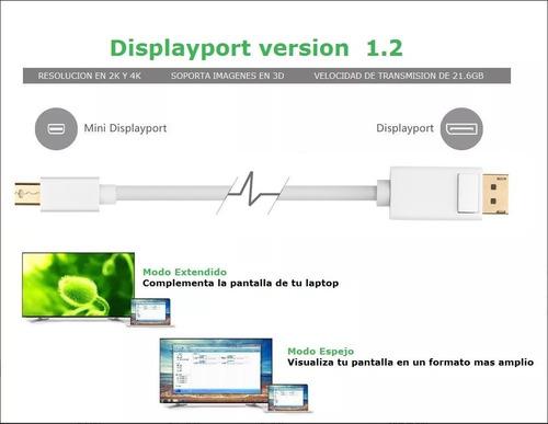cable mini displayport ( thunderbolt ) a displayport de 2m.