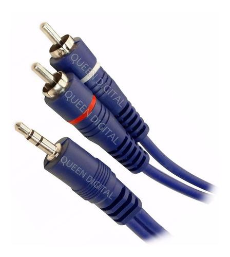 cable mini plug 3.5 a rca reforzado 2 metros x 10 unidades