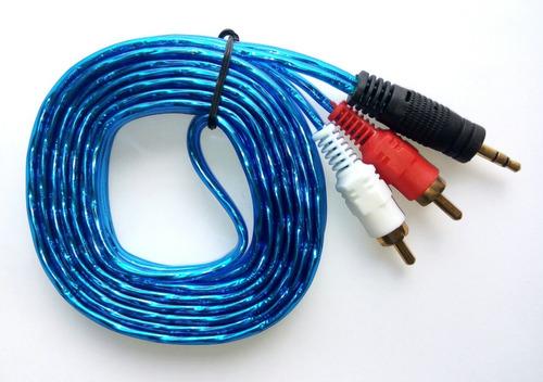 cable mini plug 3.5 mm a rca de 3 metros audio auxiliar