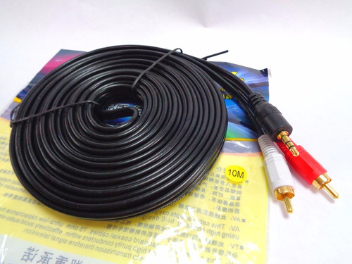cable mini plug 3.5mm a rca macho estereo punta dorada 10mts