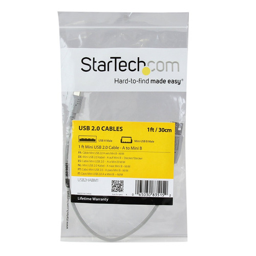 cable mini usb 2.0 startech de 1 pie - a a mini b (usb2ha...