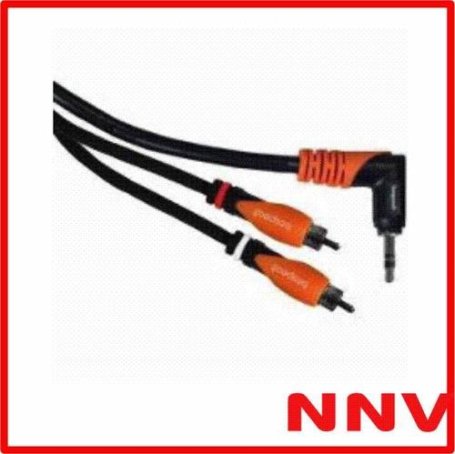 cable miniplug 90º a 2 rca 3 metros bespeco slympr300  nnv