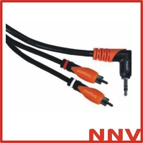 cable miniplug 90º a 2 rca de 1,8 metros bespeco slympr180
