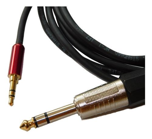 cable miniplug  estereo rojo a plug balanceado x 2 mts hamc