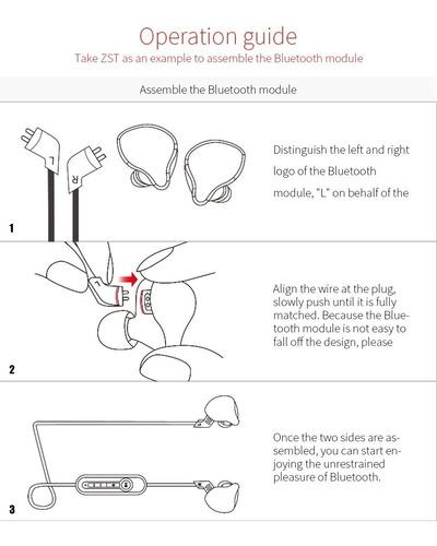 cable módulo bluetooth para audifonos kz zst, ed4, ed12 zs10