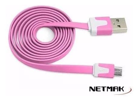 cable netmak usb a micro usb plano 1,8 metros nm-c68 colores