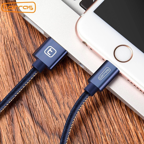 cable para iphone mezclilla  6 6s 7 torras