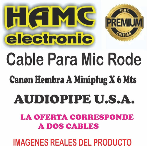 cable para mic rode canon hembra a miniplug  x 6 mts