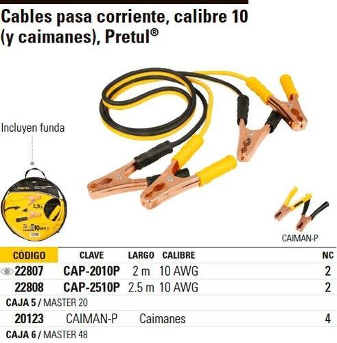 cable pasa corrientes 2.5 mt calibre 10 pretul 22808