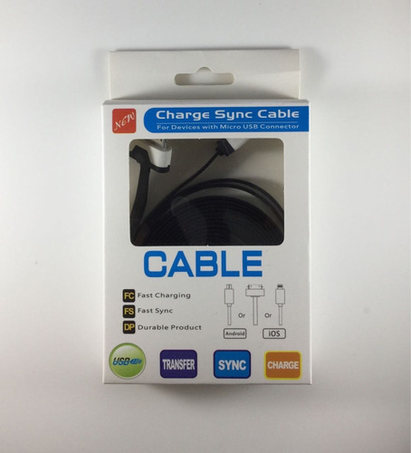 cable plano apple lightning iphone 4 4s 2 metros certificado