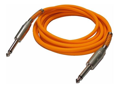 cable plug 3 metros naranja fluo guitarra bajo teclado full