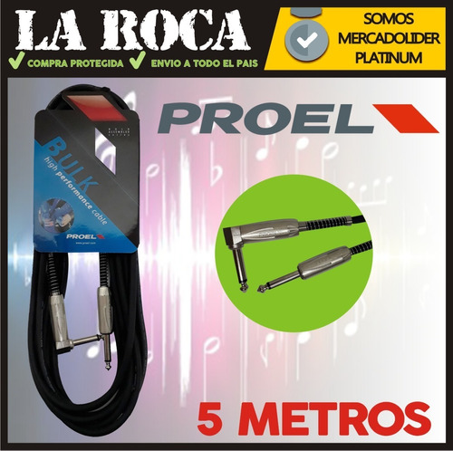 cable plug 90 instrumento proel bulk120lu5 5 metros niquel - cuotas