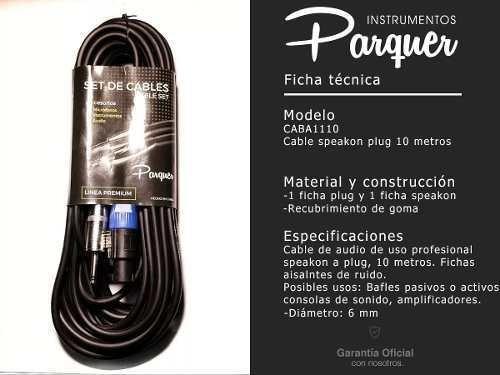 cable plug a speakon parquer profesional 10 metros