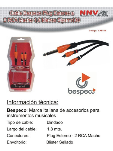 cable plug estereo a 2 rca macho 1,8 metro bespeco slysrm180