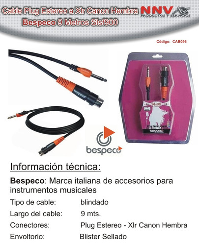 cable plug estereo a xlr canon hembra 9 mts bespeco slsf900