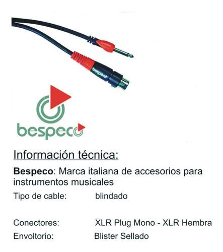 cable plug mono a xlr cannon hembra 4.5 mtrs bespeco sljf450