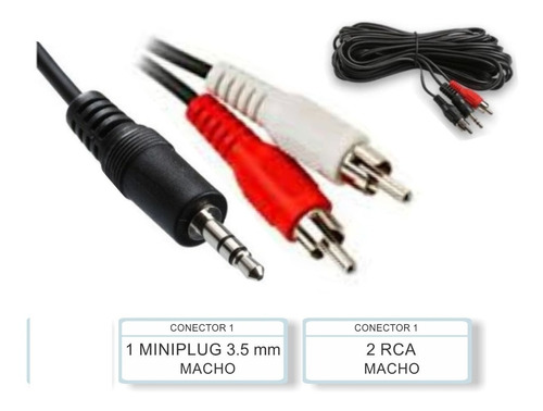 cable plus a 2 rca auxiliar 1,5mt