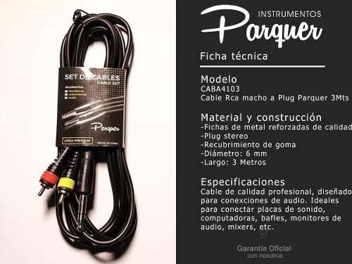 cable profesional rca macho a plug stereo 3 mtrs parquer
