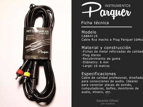 cable profesional rca macho plug stereo 10mts parquer cuota