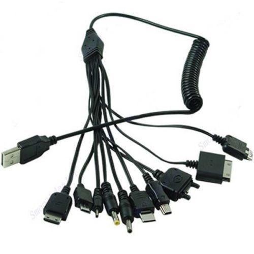 cable pulpo usb 10 en 1 con cable tipo telefonico espiral