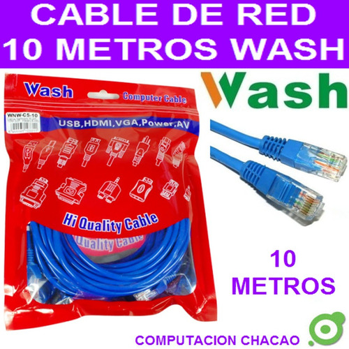 cable red 10 mts internet pc laptop rj45 utp patch cord ccc