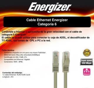 cable red rj45 utp cat 6 lan 1.5m energizer calidad